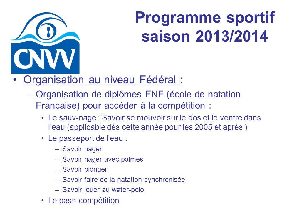 Programme sportif saison 2013/2014 Organisation au niveau Fédéral : –Organisation de diplômes ENF (école de natation Française) pour accéder à la comp