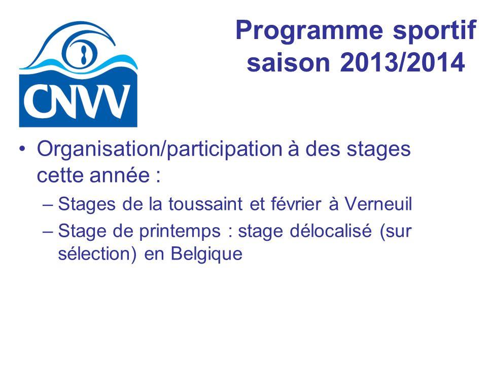 Organisation/participation à des stages cette année : –Stages de la toussaint et février à Verneuil –Stage de printemps : stage délocalisé (sur sélection) en Belgique Programme sportif saison 2013/2014