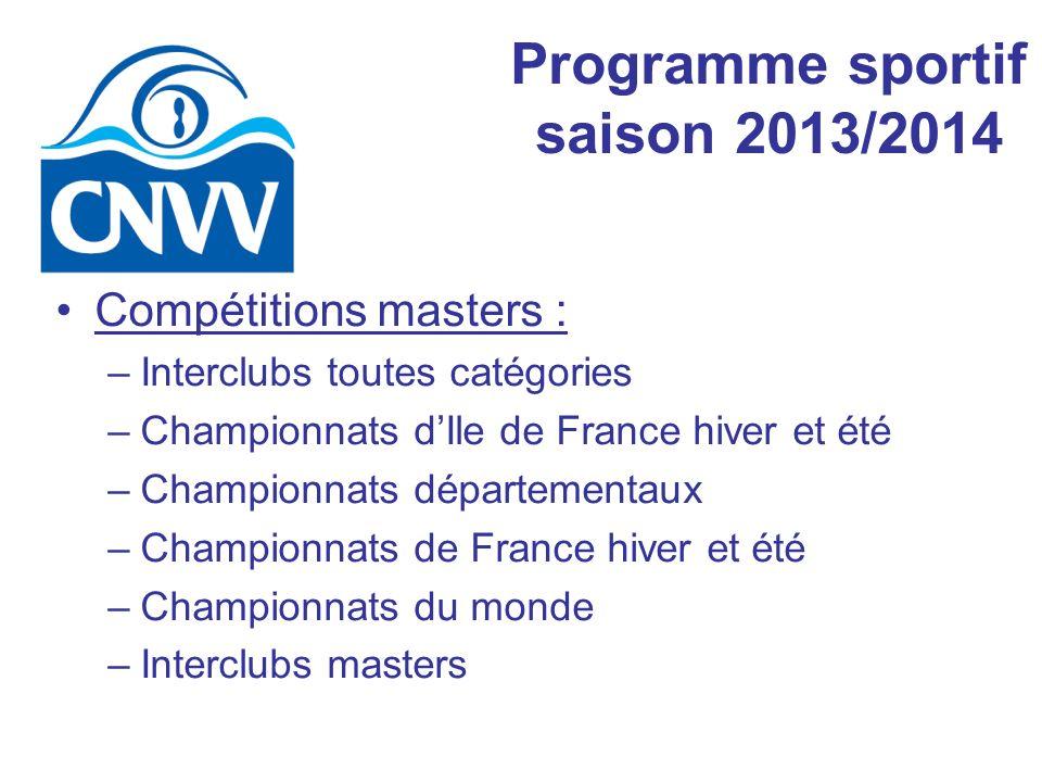 Compétitions masters : –Interclubs toutes catégories –Championnats dIle de France hiver et été –Championnats départementaux –Championnats de France hiver et été –Championnats du monde –Interclubs masters