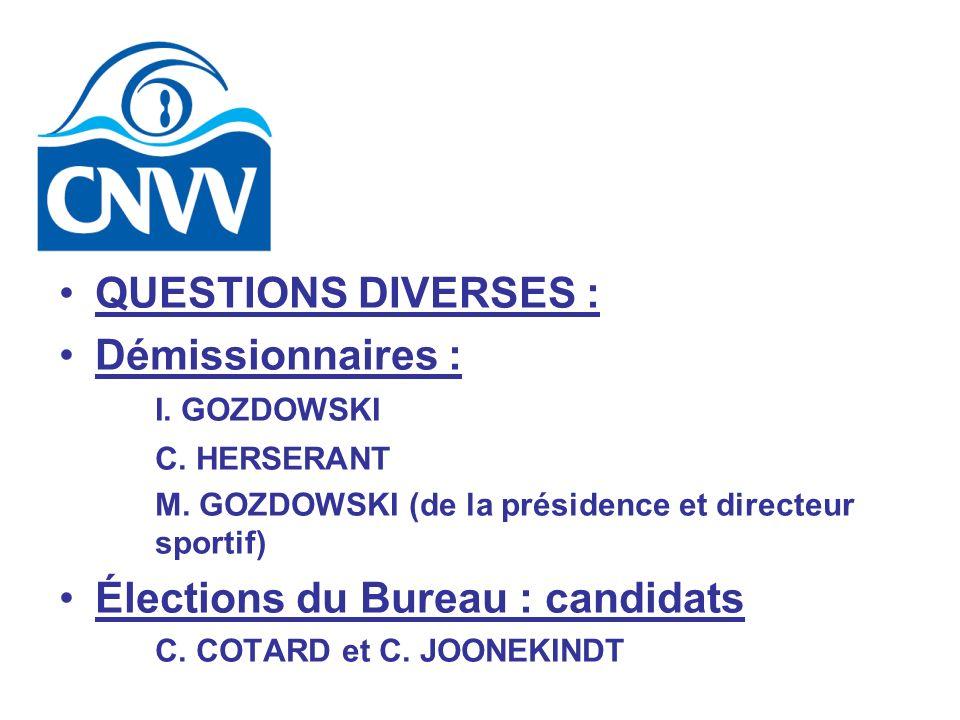 QUESTIONS DIVERSES : Démissionnaires : I. GOZDOWSKI C. HERSERANT M. GOZDOWSKI (de la présidence et directeur sportif) Élections du Bureau : candidats