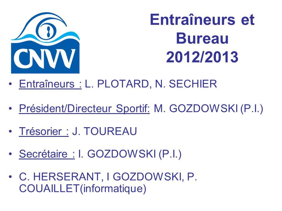 Entraîneurs et Bureau 2012/2013 Entraîneurs : L. PLOTARD, N. SECHIER Président/Directeur Sportif: M. GOZDOWSKI (P.I.) Trésorier : J. TOUREAU Secrétair
