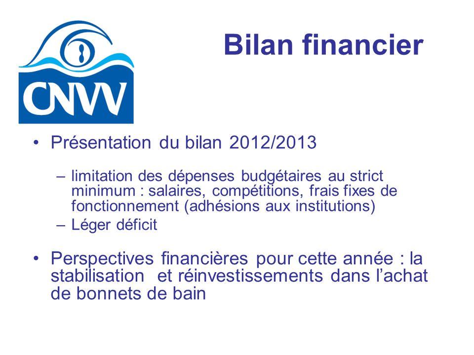 Bilan financier Présentation du bilan 2012/2013 –limitation des dépenses budgétaires au strict minimum : salaires, compétitions, frais fixes de foncti