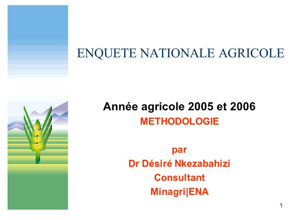 1 ENQUETE NATIONALE AGRICOLE Année agricole 2005 et 2006 METHODOLOGIE par Dr Désiré Nkezabahizi Consultant Minagri|ENA