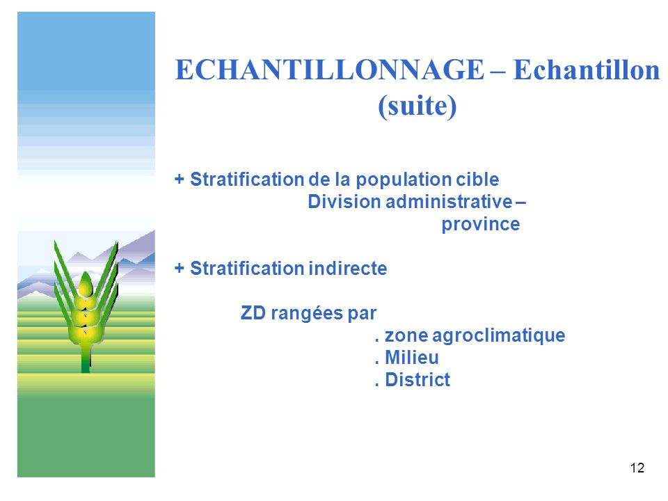 12 ECHANTILLONNAGE – Echantillon (suite) + Stratification de la population cible Division administrative – province + Stratification indirecte ZD rang