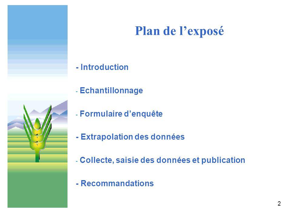 2 Plan de lexposé - Introduction - Echantillonnage - Formulaire denquête - Extrapolation des données - Collecte, saisie des données et publication - R