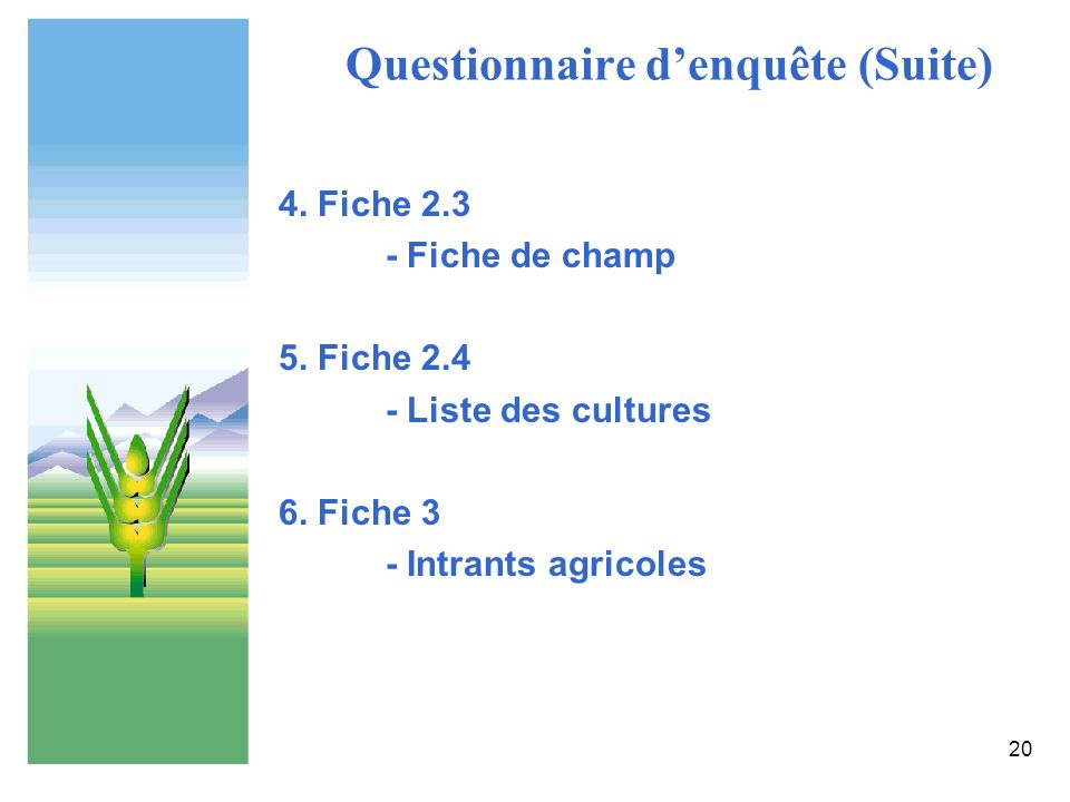 20 Questionnaire denquête (Suite) 4. Fiche 2.3 - Fiche de champ 5. Fiche 2.4 - Liste des cultures 6. Fiche 3 - Intrants agricoles
