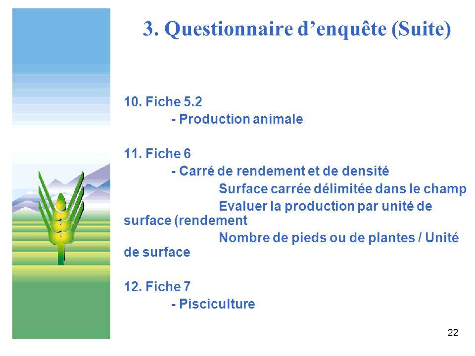 22 3. Questionnaire denquête (Suite) 10. Fiche 5.2 - Production animale 11. Fiche 6 - Carré de rendement et de densité Surface carrée délimitée dans l