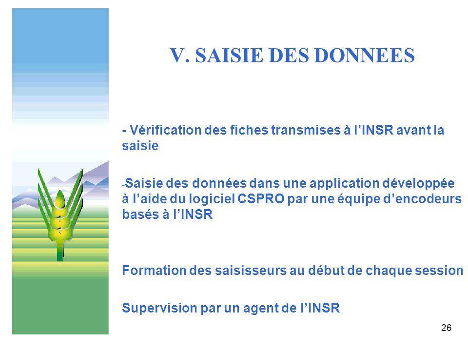 26 V. SAISIE DES DONNEES - Vérification des fiches transmises à lINSR avant la saisie - Saisie des données dans une application développée à laide du