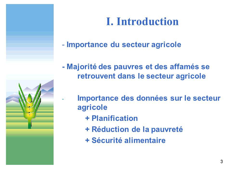 3 I. Introduction - Importance du secteur agricole - Majorité des pauvres et des affamés se retrouvent dans le secteur agricole - Importance des donné