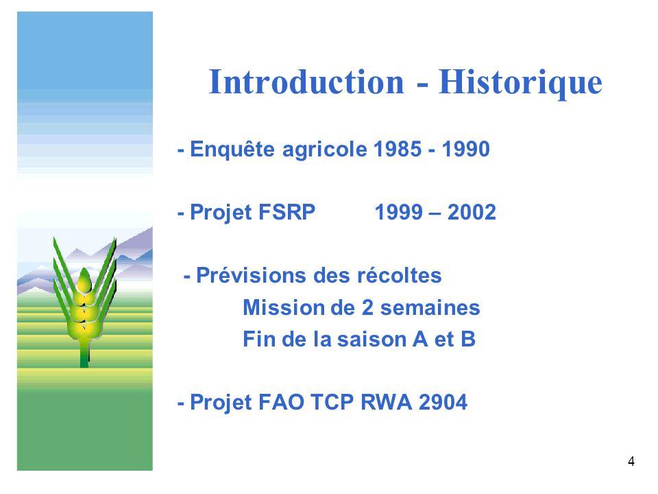 4 Introduction - Historique - Enquête agricole 1985 - 1990 - Projet FSRP1999 – 2002 - Prévisions des récoltes Mission de 2 semaines Fin de la saison A