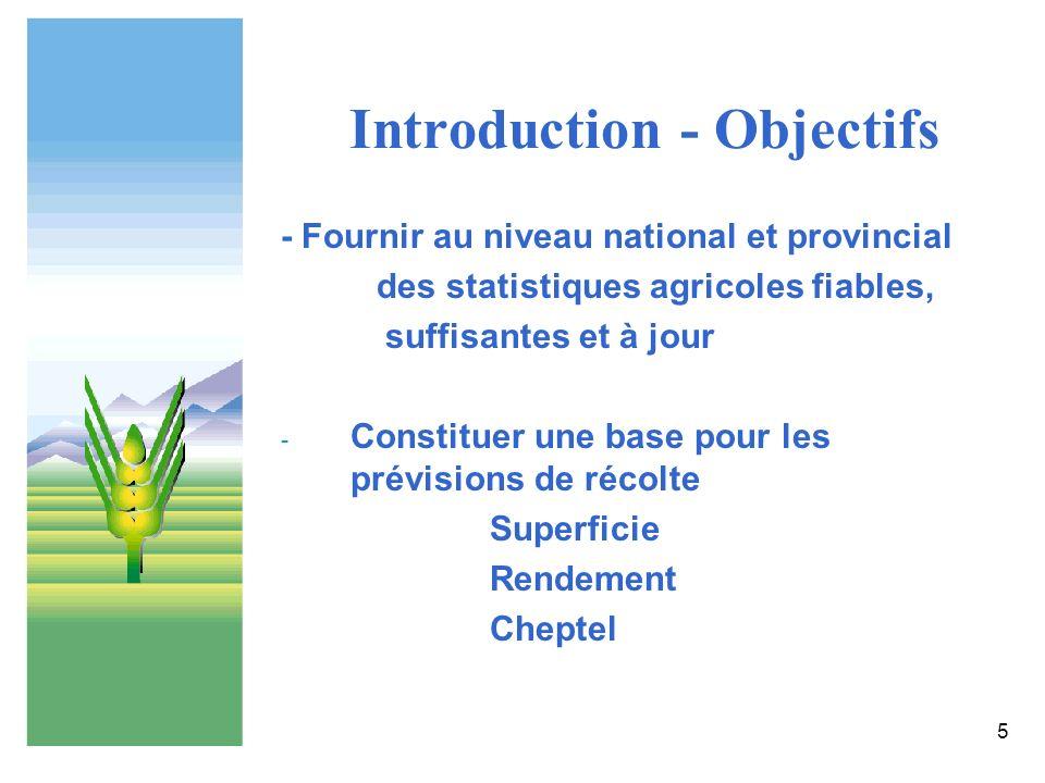 5 Introduction - Objectifs - Fournir au niveau national et provincial des statistiques agricoles fiables, suffisantes et à jour - Constituer une base