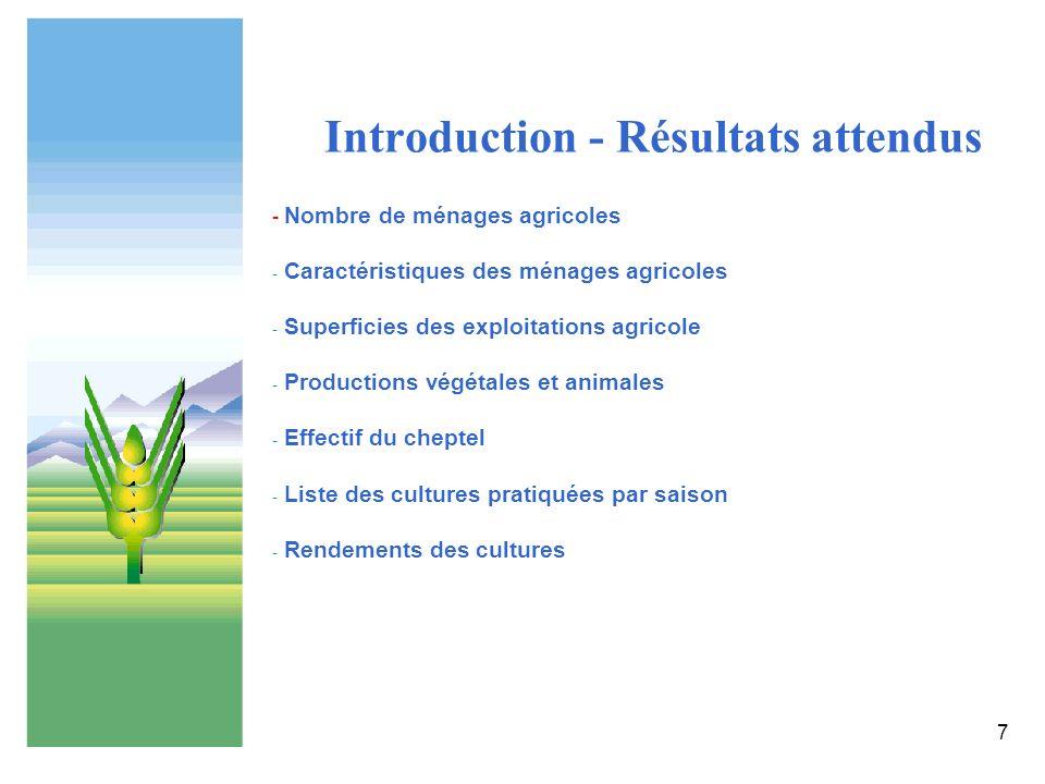 7 Introduction - Résultats attendus - Nombre de ménages agricoles - Caractéristiques des ménages agricoles - Superficies des exploitations agricole -