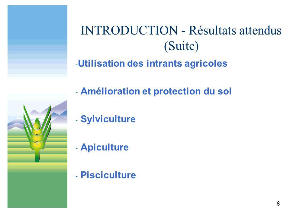 8 INTRODUCTION - Résultats attendus (Suite) - Utilisation des intrants agricoles - Amélioration et protection du sol - Sylviculture - Apiculture - Pis