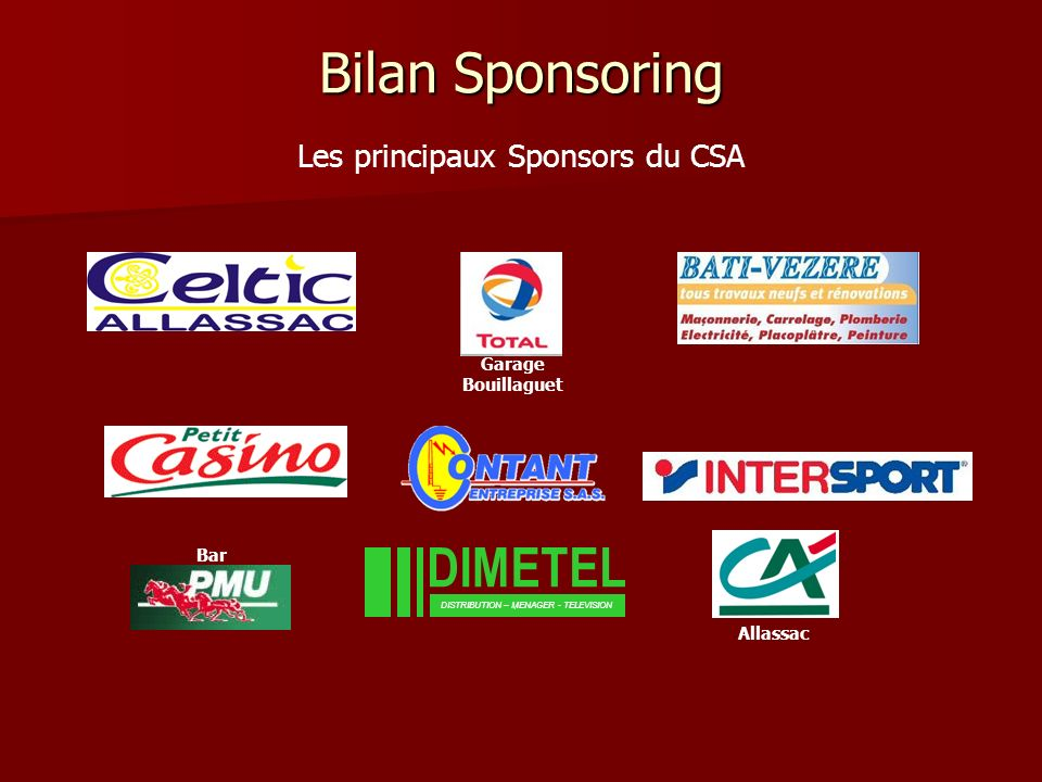 Bilan Sponsoring DISTRIBUTION – MENAGER - TELEVISION Les principaux Sponsors du CSA Garage Bouillaguet Bar Allassac