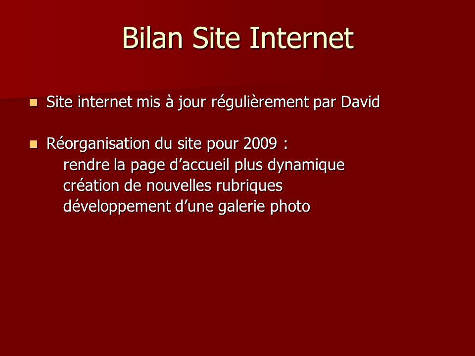 Bilan Site Internet Site internet mis à jour régulièrement par David Site internet mis à jour régulièrement par David Réorganisation du site pour 2009