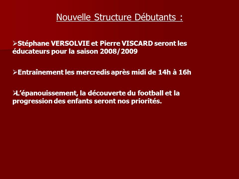 Nouvelle Structure Débutants : Stéphane VERSOLVIE et Pierre VISCARD seront les éducateurs pour la saison 2008/2009 Entraînement les mercredis après mi