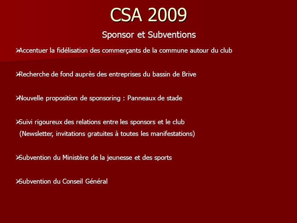 CSA 2009 Sponsor et Subventions Accentuer la fidélisation des commerçants de la commune autour du club Recherche de fond auprès des entreprises du bas