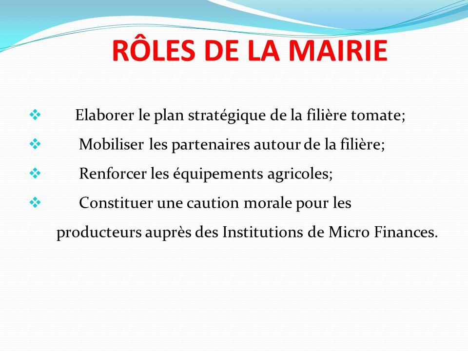RÔLES DE LA MAIRIE Elaborer le plan stratégique de la filière tomate; Mobiliser les partenaires autour de la filière; Renforcer les équipements agricoles; Constituer une caution morale pour les producteurs auprès des Institutions de Micro Finances.