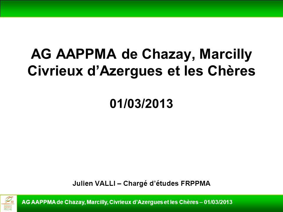 AG AAPPMA de Chazay, Marcilly Civrieux dAzergues et les Chères 01/03/2013 Julien VALLI – Chargé détudes FRPPMA AG AAPPMA de Chazay, Marcilly, Civrieux
