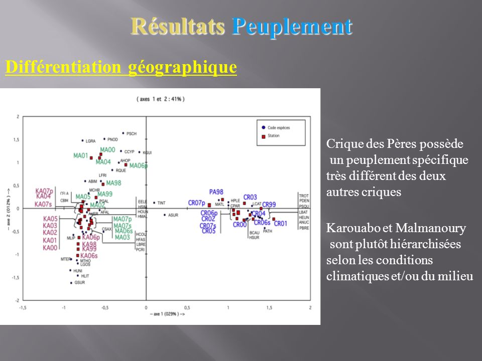 Résultats Peuplement Différentiation géographique Crique des Pères possède un peuplement spécifique très différent des deux autres criques Karouabo et