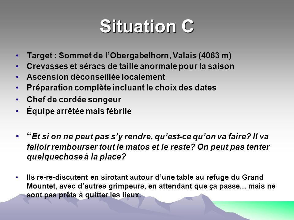 Situation C Target : Sommet de lObergabelhorn, Valais (4063 m) Crevasses et séracs de taille anormale pour la saison Ascension déconseillée localement