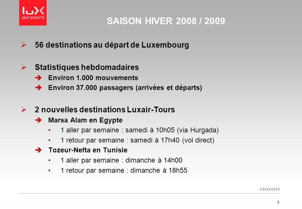 8 SAISON HIVER 2008 / 2009 56 destinations au départ de Luxembourg Statistiques hebdomadaires Environ 1.000 mouvements Environ 37.000 passagers (arrivées et départs) 2 nouvelles destinations Luxair-Tours Marsa Alam en Egypte 1 aller par semaine : samedi à 10h05 (via Hurgada) 1 retour par semaine : samedi à 17h40 (vol direct) Tozeur-Nefta en Tunisie 1 aller par semaine : dimanche à 14h00 1 retour par semaine : dimanche à 18h55