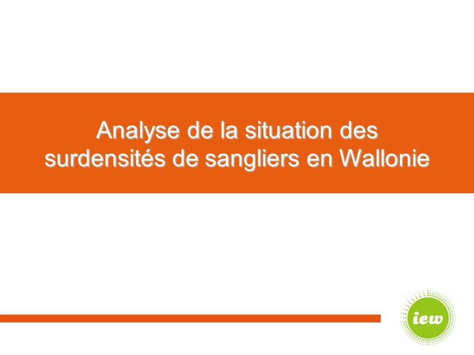 Analyse de la situation des surdensités de sangliers en Wallonie