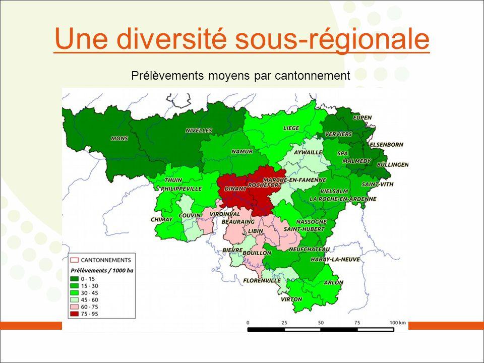 Une diversité sous-régionale Prélèvements moyens par cantonnement