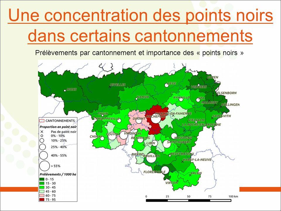 Une concentration des points noirs dans certains cantonnements Prélèvements par cantonnement et importance des « points noirs »