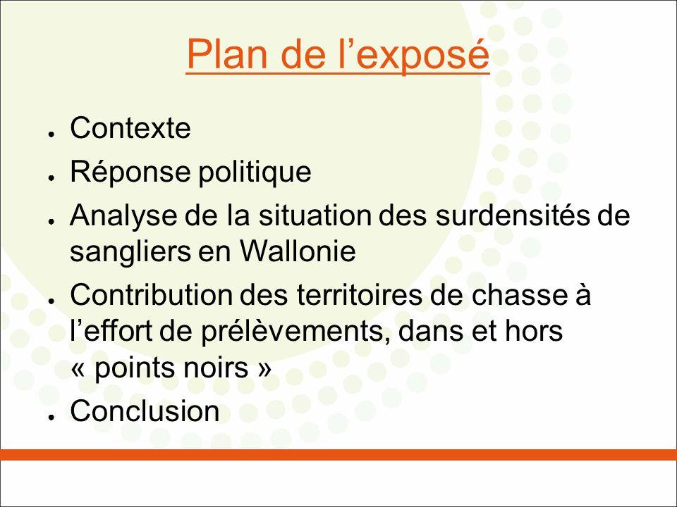 Plan de lexposé Contexte Réponse politique Analyse de la situation des surdensités de sangliers en Wallonie Contribution des territoires de chasse à l