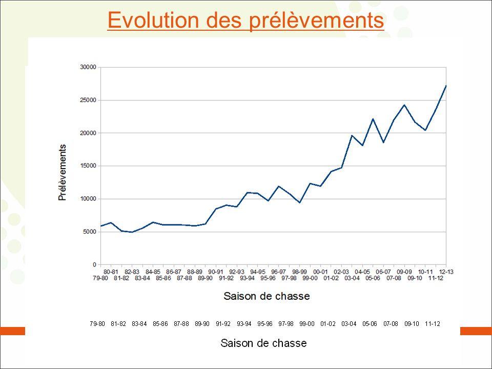 Evolution des prélèvements de sangliers en Wallonie