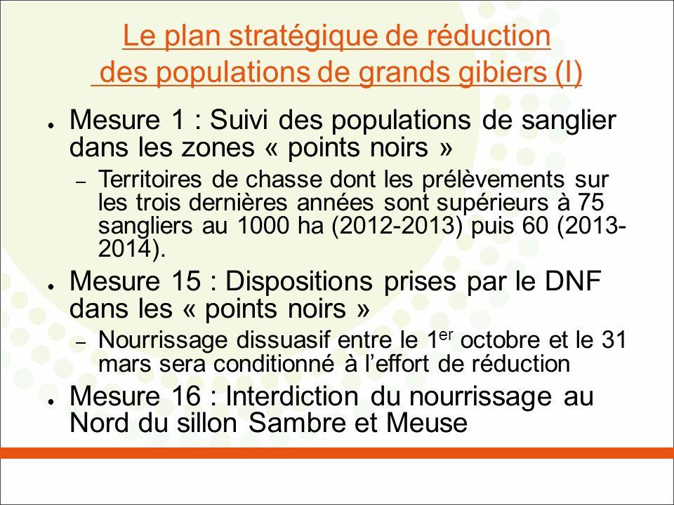 Le Plan stratégique de réduction des populations de grands gibiers (II) Mesure 17 : Restriction du nourrissage au Sud du sillon Sambre et Meuse – Nourrissage dissuasif autorisé entre le 1 er avril et le 30 septembre – Disposition transitoire : nourrissage dissuasif autorisé entre le 1 er octobre et le 31 mars pendant 3 ans – Évaluation du plan et des mesures transitoires présentées au GW le 1er octobre 2013 et 2014.
