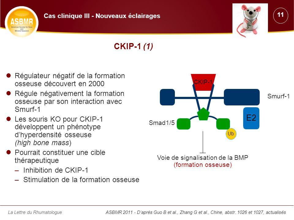 La Lettre du Rhumatologue CKIP-1 (1) Régulateur négatif de la formation osseuse découvert en 2000 Régule négativement la formation osseuse par son int