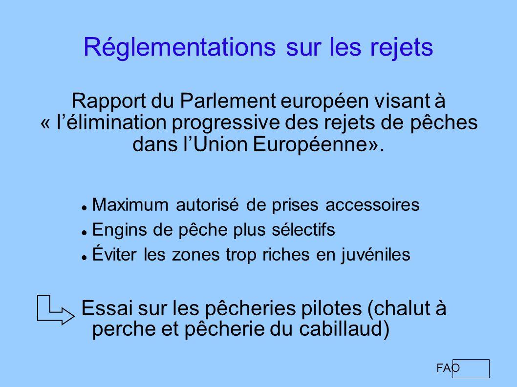 Réglementations sur les rejets Rapport du Parlement européen visant à « lélimination progressive des rejets de pêches dans lUnion Européenne». Maximum