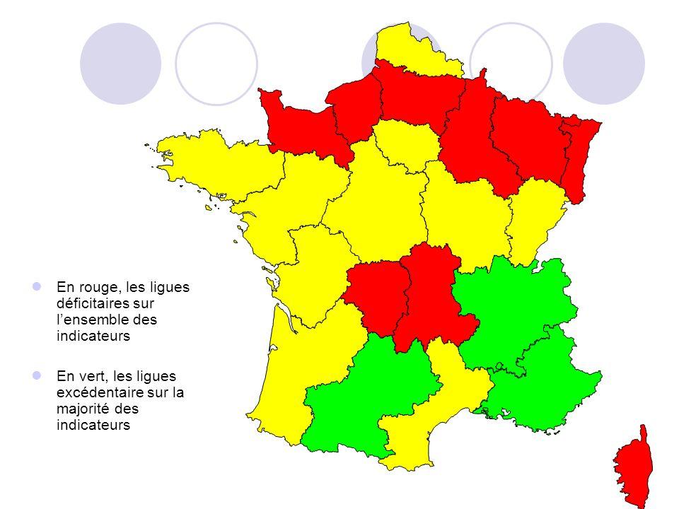 En rouge, les ligues déficitaires sur lensemble des indicateurs En vert, les ligues excédentaire sur la majorité des indicateurs