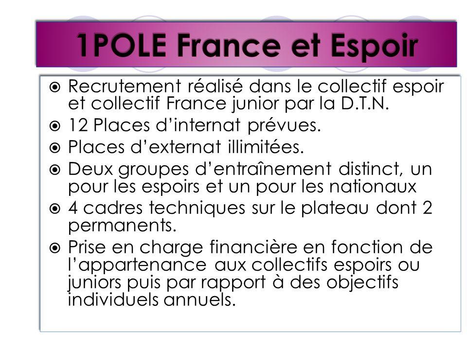 Recrutement réalisé dans le collectif espoir et collectif France junior par la D.T.N. 12 Places dinternat prévues. Places dexternat illimitées. Deux g