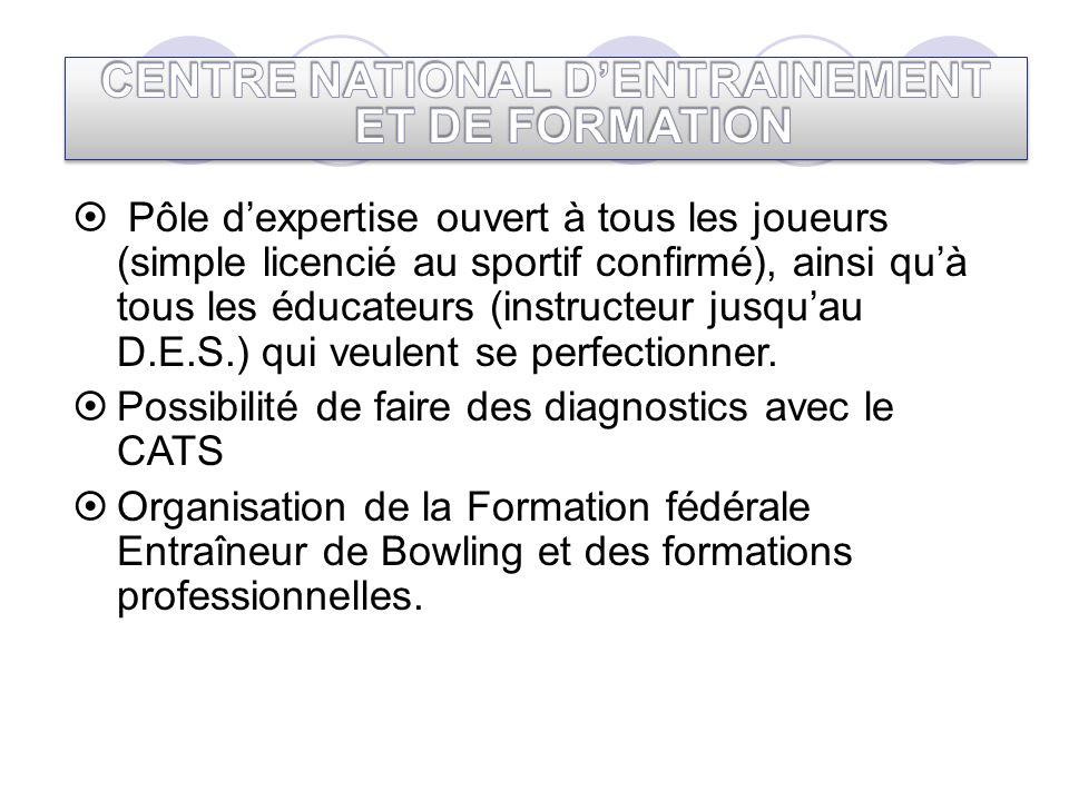 Pôle dexpertise ouvert à tous les joueurs (simple licencié au sportif confirmé), ainsi quà tous les éducateurs (instructeur jusquau D.E.S.) qui veulen