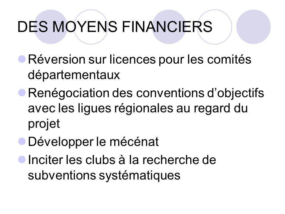 DES MOYENS FINANCIERS Réversion sur licences pour les comités départementaux Renégociation des conventions dobjectifs avec les ligues régionales au re
