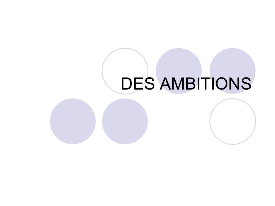 DES AMBITIONS