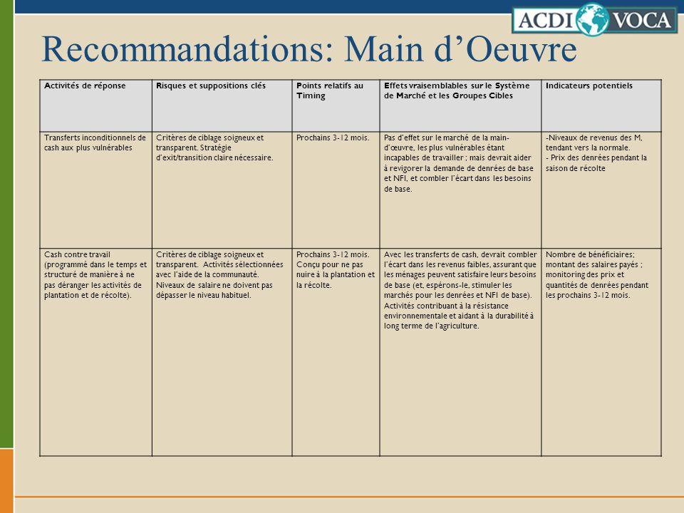 Recommandations: Main dOeuvre Activités de réponseRisques et suppositions clésPoints relatifs au Timing Effets vraisemblables sur le Système de Marché