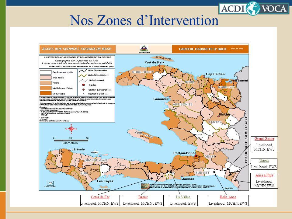 Nos Zones dIntervention Anse a Pitre Livelihood, MCHN,EWS Belle Anse Livelihood, MCHN, EWS Cotes de Fer Livelihood, MCHN, EWS Bainet Livelihood, MCHN,