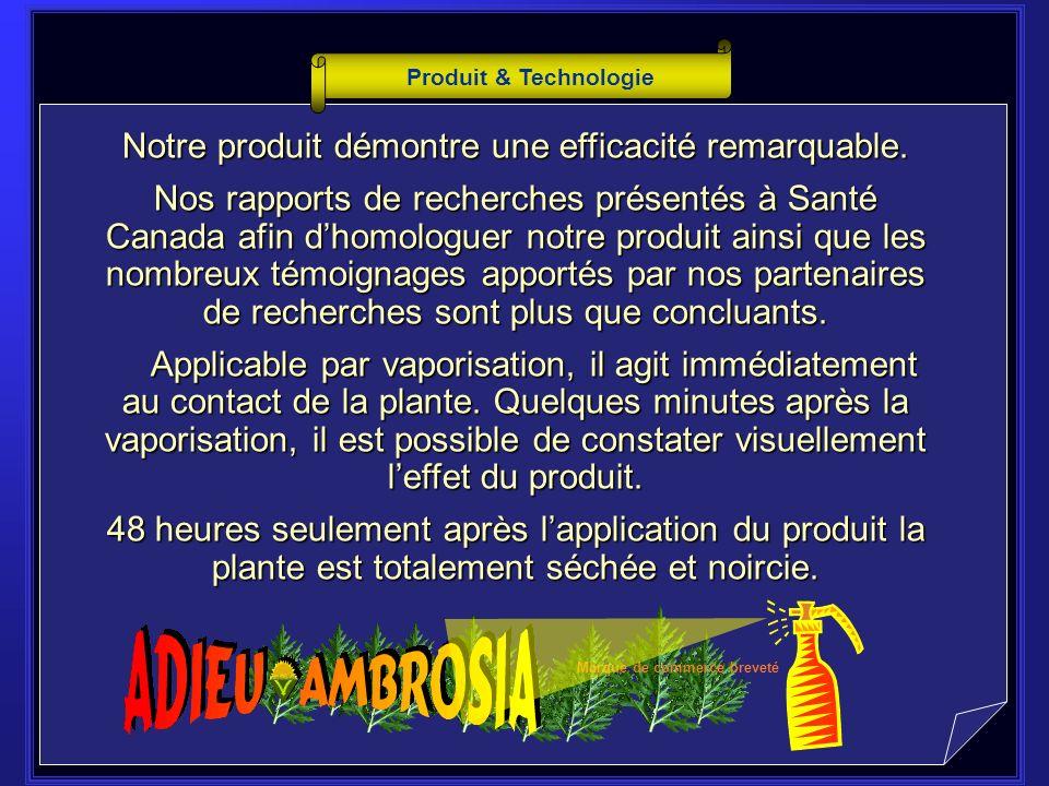 P roduit & Technologie Adios Ambros est un herbicide écologique pour le contrôle et la suppression de lAmbrosia.