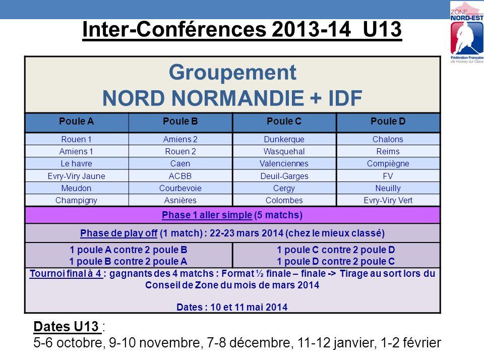 Groupement NORD NORMANDIE + IDF Poule APoule BPoule CPoule D Rouen 1Amiens 2DunkerqueChalons Amiens 1Rouen 2WasquehalReims Le havreCaenValenciennesCompiègne Evry-Viry JauneACBBDeuil-GargesFV MeudonCourbevoieCergyNeuilly ChampignyAsnièresColombesEvry-Viry Vert Phase 1 aller simple (5 matchs) Phase de play off (1 match) : 22-23 mars 2014 (chez le mieux classé) 1 poule A contre 2 poule B 1 poule B contre 2 poule A 1 poule C contre 2 poule D 1 poule D contre 2 poule C Tournoi final à 4 : gagnants des 4 matchs : Format ½ finale – finale -> Tirage au sort lors du Conseil de Zone du mois de mars 2014 Dates : 10 et 11 mai 2014 Inter-Conférences 2013-14 U13 Dates U13 : 5-6 octobre, 9-10 novembre, 7-8 décembre, 11-12 janvier, 1-2 février