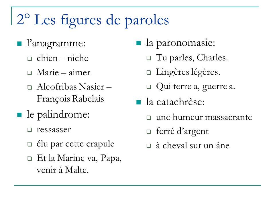 2° Les figures de paroles lanagramme: chien – niche Marie – aimer Alcofribas Nasier – François Rabelais le palindrome: ressasser élu par cette crapule Et la Marine va, Papa, venir à Malte.