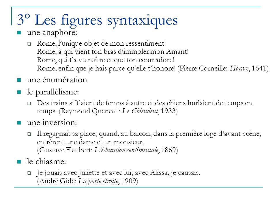3° Les figures syntaxiques une anaphore: Rome, lunique objet de mon ressentiment.