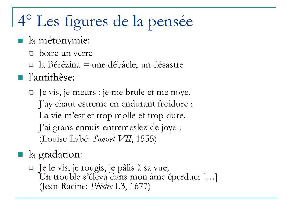 4° Les figures de la pensée la métonymie: boire un verre la Bérézina = une débâcle, un désastre lantithèse: Je vis, je meurs : je me brule et me noye.