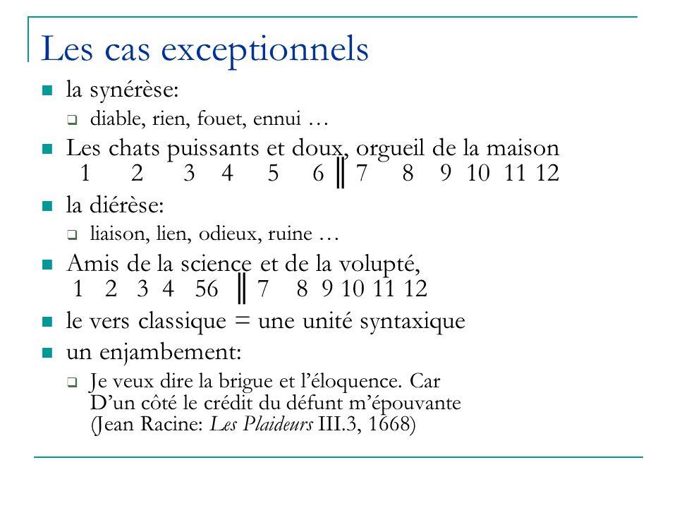 Les cas exceptionnels la synérèse: diable, rien, fouet, ennui … Les chats puissants et doux, orgueil de la maison 1 2 3 4 5 6 7 8 9 10 11 12 la diérèse: liaison, lien, odieux, ruine … Amis de la science et de la volupté, 1 2 3 4 56 7 8 9 10 11 12 le vers classique = une unité syntaxique un enjambement: Je veux dire la brigue et léloquence.