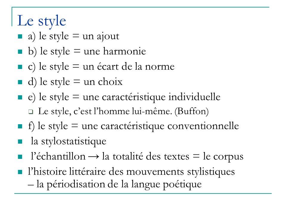 Le style a) le style = un ajout b) le style = une harmonie c) le style = un écart de la norme d) le style = un choix e) le style = une caractéristique individuelle Le style, cest lhomme lui-même.