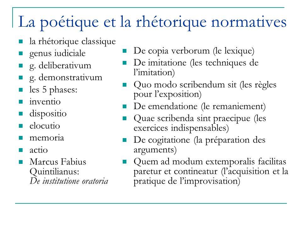 La poétique et la rhétorique normatives la rhétorique classique genus iudiciale g.