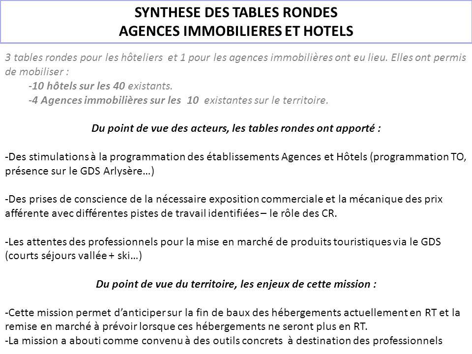 SYNTHESE DES TABLES RONDES AGENCES IMMOBILIERES ET HOTELS 3 tables rondes pour les hôteliers et 1 pour les agences immobilières ont eu lieu. Elles ont
